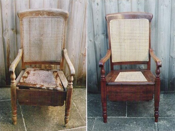 A picture of the Commode Chair before and after Sue worked on it.