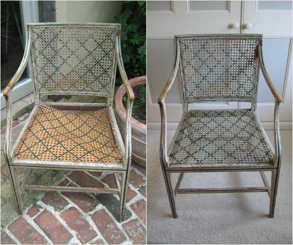 beautiful old French chair before and after it's reseating work
