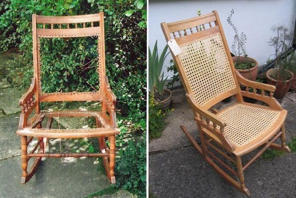 A picture of the rocking chair before and after Sue worked on it.